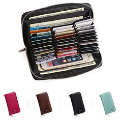 Mini Credit Card Case Holder Security Small Accordion Wallet with Zipper for Women girls