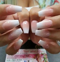 Simple Medium Length Acrylic Ombre Nails With Silver Glitter Nail . Simple Medium Length Acrylic Ombre Nails With Silver Glitter Nail nail ideas medium length - Nail Ideas Light Pink Acrylic Nails, Wedding Acrylic Nails, Silver Glitter Nails, Pink Ombre Nails, White Nails, Wedding Nails, Great Nails, Fun Nails, Diva Nails