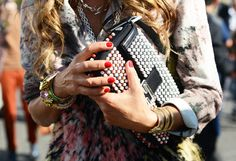 that bvlgari watch Tommy Ton Shoots the Street-Style Scene at the Spring 2013 Shows #photography #details embellished clutch red nails
