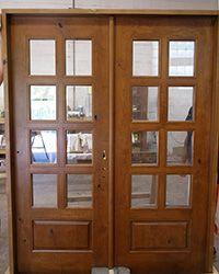 rustic interior french doors 8-lite knotty alder