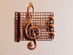 Vintage Renoir Copper Treble Clef Music Brooch Free by RareBeauty
