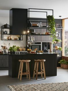 41 Trendy Home Office Design Black Decor Industrial Kitchen Design, Modern Kitchen Design, Modern Industrial, Black Kitchen Cabinets, Black Kitchens, Kitchen Island, Modern Bedroom Design, Home Office Design, Design Your Home