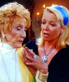 Jeanne Cooper and Melody Thomas Scott in an old YR episode regarding Katherine's addiction to alcohol. Eric Braeden, Young And The Restless, Screen Shot, Addiction, Alcohol, It Cast, Actresses, Portrait, Rubbing Alcohol