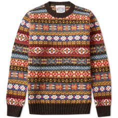 Jamieson's of Shetland Fair Isle Crew ($180) ❤ liked on Polyvore featuring men's fashion, men's clothing and men's sweaters