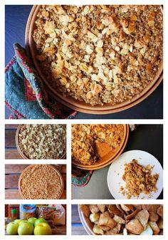 Vegan apple crumb. Con una crujiente cobertura de avena y almendras. http://elfestindemarga.blogspot.com.es/2014/09/pastel-vegano-de-manzana-con-crujiente.html