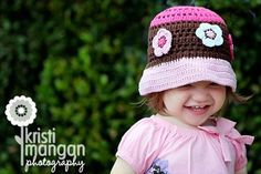 NEW 12T Crochet Bucket Beanie With Daisy  pastel by LovelyKnits, $23.95