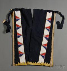 Lakota Man's Blue Trade Cloth Leggings   Sale Number 2612M, Lot Number 59   Skinner Auctioneers
