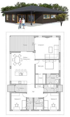 Small house plan, covered terrace, three bedrooms, affordable building budget. Small home design.: