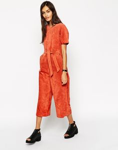 This suede orange jumpsuit will see many days out.