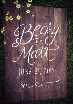 Large Custom Hand Lettered and Painted Wedding Sign - Rustic/Vintage/Barn Wedding by SarikoDesigns (etsy)