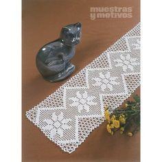 Camino de mesa tejido a ganchillo con motivos florales #muestrasymotivos #crochet #caminosdemesa #muestras #gráficos #home #decoración #labores #white #flower
