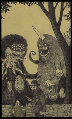 Awesome Post-It Note Monster Art. Artist Don Kenn does amazingly detailed pieces on very tiny canvasses. His Post-It Note masterpieces depict cutely macabre childhood nightmares. Art And Illustration, Illustrations, Monster Drawing, Monster Art, Kunst Inspo, Art Inspo, Arte Horror, Horror Art, Fantasy Kunst