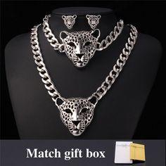 Cool Leopard Head Bracelet Earrings Necklace Set For Women/Men New Trendy 18K…