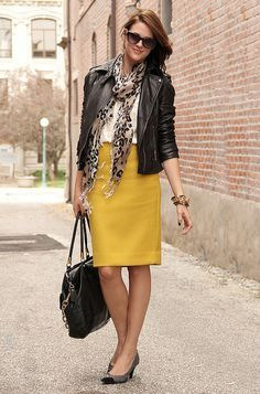 yellow pencil skirt, leather jacket, white top, and print scarf