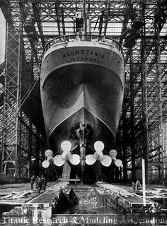 The RMS Mauretania just before her launch on September 20th, 1906.