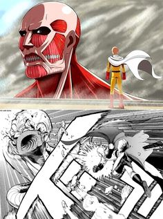 Saitama got this eren. lol One-Punch Man x Attack on Titan Saitama One Punch Man, One Punch Man Anime, One Punch Man Funny, Manga Anime, Anime Meme, Anime Art, Hiro Big Hero 6, Accel World, Attack On Titan Funny