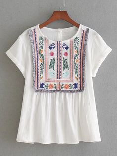 Rolled Cuff Fringe Trim Embroidery Top
