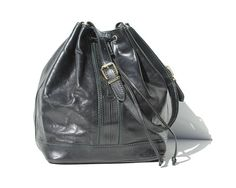 PRINCIPE Vintage Black Italian Leather Teal Stitch Drawstring Bag Bucket Purse