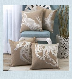 Embroidered Crab, Starfish, Seahorse and Octopus design forms a coastal and casual pillow. Natural sand hued cotton; shades of white embroidery create the relaxed style and infuses a subtle touch of Summer that fits right at home in any decor.