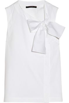 White stretch cotton-blend Pussy-bow ties Concealed button fastenings through asymmetric front 72% cotton, 23% polyamide, 5% elastane Dry clean