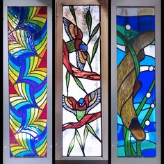 Three gorgeous leadlight panels now on display in our glass showroom. Each panel showcasing the colourful leadlight glass we have in stock, as well as the quality handiwork of Ian, Alec and the workshop staff. Glass Supplies, Art Supplies, Kiln Formed Glass, Australian Birds, Day Work, Perth, Art Blog, Stained Glass, Glass Art