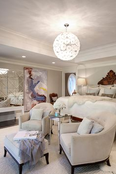 Glamorous all white bedroom w/ great art & mirror