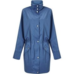Four Seasons Funnel Neck Parka , Blue (4399145 BYR) ❤ liked on Polyvore featuring outerwear, coats, blue, hooded parka, blue coat, blue parka coat, water resistant coat and hooded parka coat
