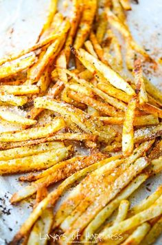 Extra Crispy Oven Baked Fries. I'm not sure of the seasoning mix, but I need to try soaking potatoes in water before before baking.