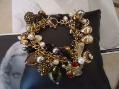 Vintage chunky charm bracelet made by Designs By Sherry