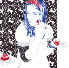 an art work by Carine Brancowitz using only red,blue and black ballpen.