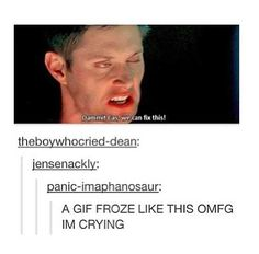 Omg dean are you okay? Funny Supernatural Memes, Spn Memes, Supernatural Bloopers, Supernatural Tumblr, Supernatural Tattoo, Supernatural Imagines, Supernatural Wallpaper, Supernatural Destiel, All Meme