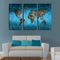 Stunning Custom Printed Artwork Printed On Superior Quality Canvas 100% Satisfaction Guarantee A stunning choice for wall decoration and home decorations, this Blue World Map panel painting features 3 panels displaying a beautiful world map. If you would like your paintings framed please select the Framed option. Blue World Map Size Chart Size 1 35cm x 50cm x3 Pieces Size 2 40cm x 60cm x3 Pieces Size 3 50cm x 70cm x3 Pieces Size 4 40cm x 80cm x3 Pieces Size 5 50cm ...