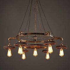 Quietness @ Chandeliers Creative Gear Wine Personality Retro Home Aisle Iron Chandeliers 870MM*160MM Pendant Lamp for Kids Bedroom Dinning Room Living Room Warehouse 110V-120V