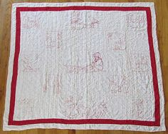 ANTIQUE-Childrens-Redwork-Embroidered-Red-White-CRIB-QUILT-43x49  Vintageblessings