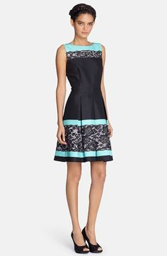 Tahari Lace Print Pleated Fit & Flare Dress available at #Nordstrom Cheyenne this is cute