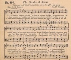 Antique Hymn Book Page - The Sands of Time - Knick Of Time @ KnickofTime.net