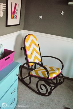 Planning on doing something like this (but in different colors) to my mom's old Bentwood rocker from when I was a baby and using it in Landon's nursery.