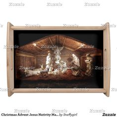 Christmas Advent Jesus Nativity Manger Scene Serving Tray #zazzle #christmas #noel #jesus #shelleyneffphotography #Christianity #joyeuxnoel #holiday #nativity #creche #serving #tray #hostess #gift #sold #sale