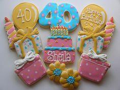 Birthday Cookies by East Coast Cookies, Edible Cookies, Iced Cookies, Cute Cookies, Sugar Cookies, 40th Bday Ideas, 40th Birthday Parties, Men Birthday, Birthday Gifts, Happy Birthday