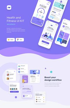 Mobile UI UX for fitness and health app with many features such as step tracking, calorie counter, fitness and workout, meditation, podcast and many more. This template / UI kit is available on Sketch and Figma. Web Design, App Ui Design, Mobile App Design, Interface Design, Best App Design, App Design Inspiration, Health App, Health Fitness, Fitness App