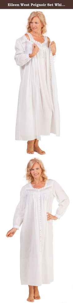 Eileen West Peignoir Set White Cotton Gown & Robe in Estival (Medium (10-12), White). Eileen West Peignoir Set consists of a sleeveless nightgown and matching long sleeve robe. This cotton lawn set has beautiful scalloped lace trim and pintucking details. Available in white.