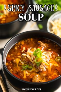 Spicy Sausage Soup - Filled with hot Italian sausage, red peppers and tomatoes. This slow cooker soup recipe packs a powerful flavour punch!