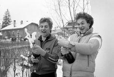 Sternstunden in Kitzbühel: Die beiden deutschen Teamkollegen Josef Ferstl (Erster/links) und Michael Veith (Dritter/rechts) feiern ihre Podestplätze nach dem Rennen in der Altstadt mit einer Flasche Sekt. Mehr Fotos finden Sie hier: http://www.nachrichten.at/nachrichten/fotogalerien/cme155574,982555 (Bild: Schaadfoto)