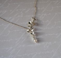 Silver orchid necklace, Brides necklace, Bridesmaids jewelry,wedding jewelry by angel4eva on Etsy