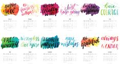 Plan your 2017 with this FREE calendar. Lettering that will keep you motivated all year long.