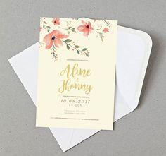 Arte de convite de casamento para imprimir com lindas ilustrações florais em aquarela.