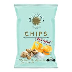 Sal de Ibiza Chips, the 125 gram bag is the rather comfortable size to share with friends over drinks. Snacks, Snack Recipes, Patatas Chips, White Truffle, Gourmet, Sun, Natural Playgrounds, Truffles, Chic