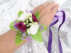 Wedding Flower CorsageFloral BraceletPurple White Rose