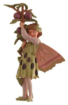 """The Slow Flower Fairy, the charm of Cicely Mary Barker's Flower Fairies has been brought to life in these precious figurines. Display them with the gold cord or use the 6 inch wire pick provided to decorate flower arrangements, plants or gift baskets. Flower Fairies are a special gift that all ages enjoy collecting. .  Dimensions: Approximately 3.75"""" H   Hand painted and cast from polystone Price: $14.99"""