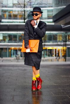 Adam Szymczak - blogger in Shabatin jacket and men skirt.